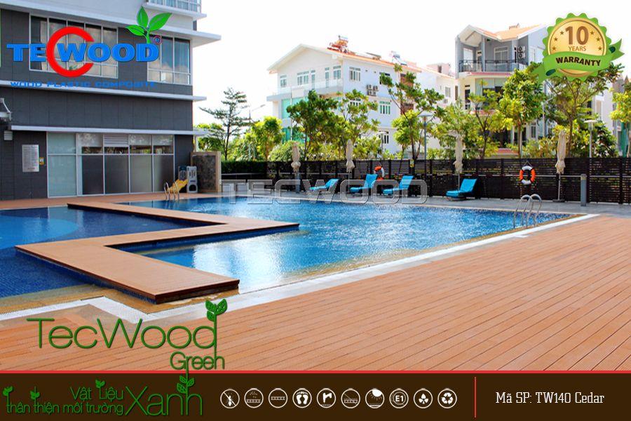 Lót sàn hồ bơi bằng sàn gỗ ngoài trời